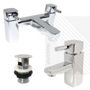 Orion Modern Basin Mixer and Bath Filler Tap Pack in Chrome